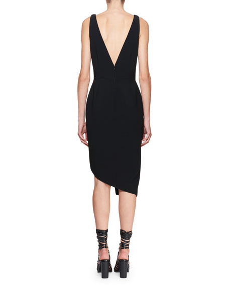Marceau V-Neck Sleeveless Asymmetric Button Cocktail