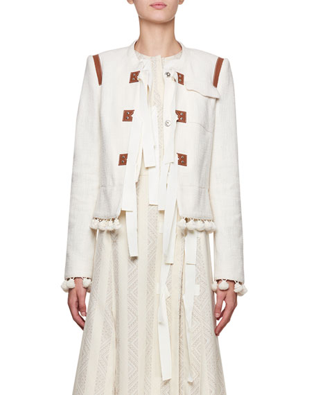 Altuzarra Avenue Jewel-Neck Tweed Cardigan Jacket with Pompom