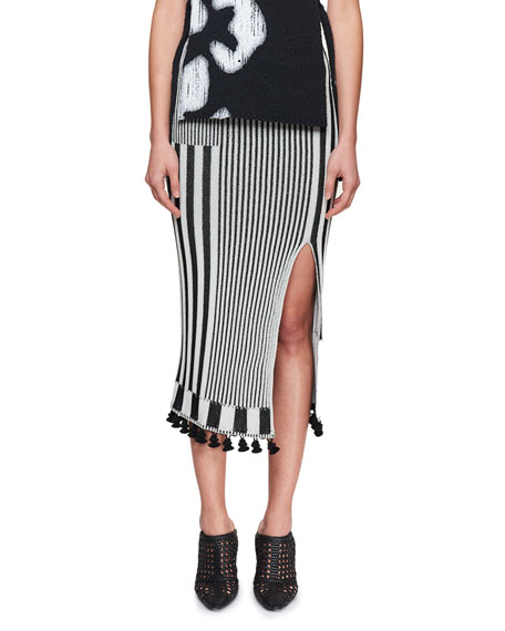 Spire High-Waist Graphic Stripe-Knit Midi Skirt