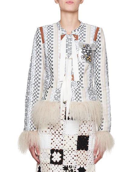 Avenue Mixed-Media Jacquard Jacket with Leather Patches & Fur Trim