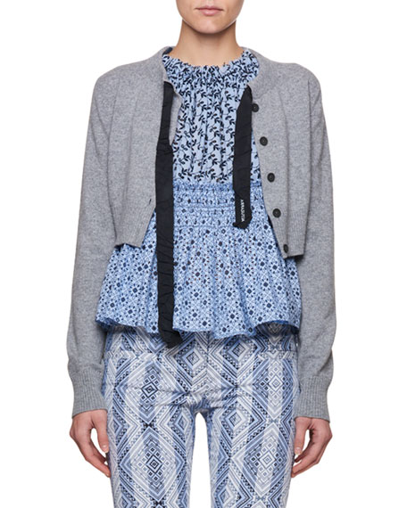 Altuzarra Cropped Merino Wool Cardigan with Ribbon Details