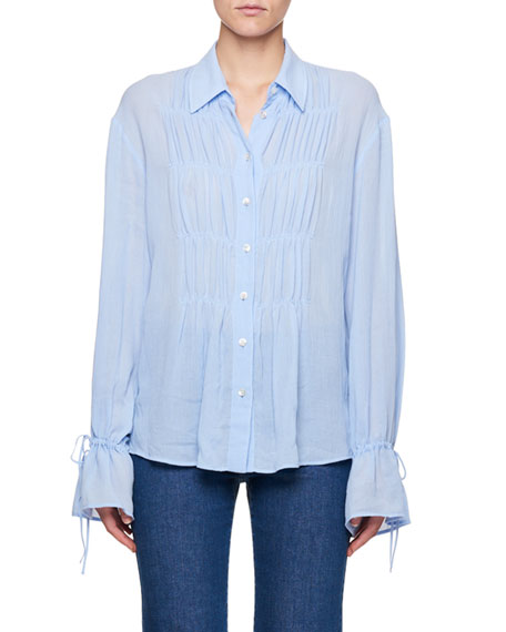 Ruched Tie-Cuff Blouse