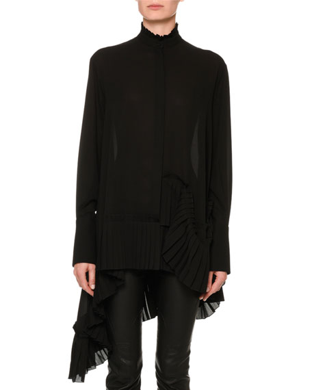 Long-Sleeve Silk Tunic Blouse w/ Asymmetric Pleated Hem