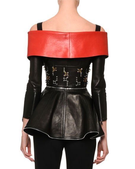 Zip-Front Leather Cold-Shoulder Jacket