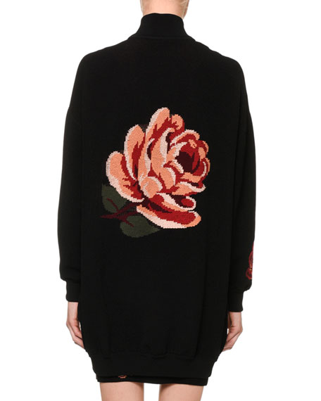Tapestry Rose-Jacquard Zip-Front Oversized Bomber Jacket
