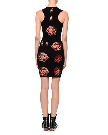 Tapestry Rose-Jacquard Sleeveless Sheath Mini Dress