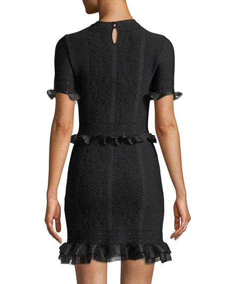 Short-Sleeve Crewneck Cage Jacquard Mini Dress with Ruffled Trim