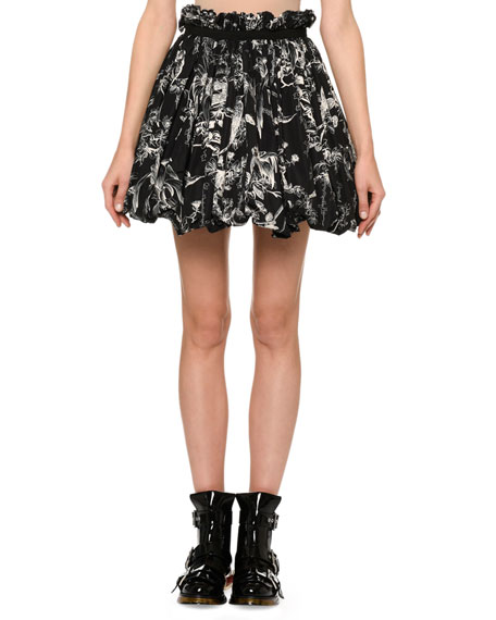 Alexander McQueen Bird-Sketch Pleated Bubble-Hem Mini Skirt