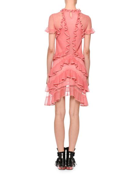 Short-Sleeve Fluid Ruffle On Lace Sheer Mini Dress