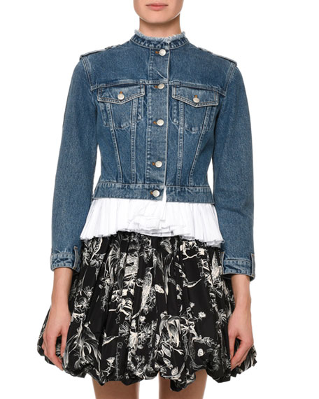 Alexander McQueen Collarless Denim Jacket with Pleated Poplin