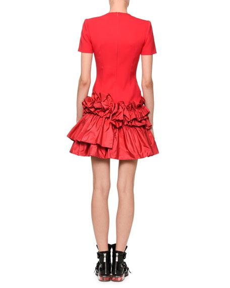 Short-Sleeve Drop-Waist Dress with Tiered Taffeta Peplum Hem