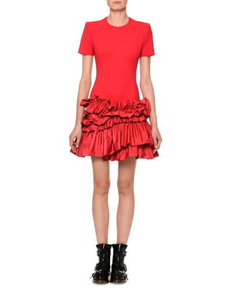 Short-Sleeve Drop-Waist Dress With Tiered Taffeta Peplum Hem, Fuchsia from LastCall.com