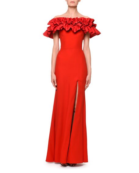 Ruched Taffeta Off-the-Shoulder Column Evening Gown