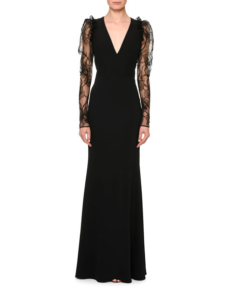 Alexander McQueen Lace-Sleeve V-Neck Column Gown