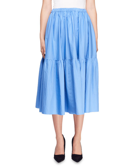 Tanya Tiered Cotton-Poplin Midi Skirt, Blue