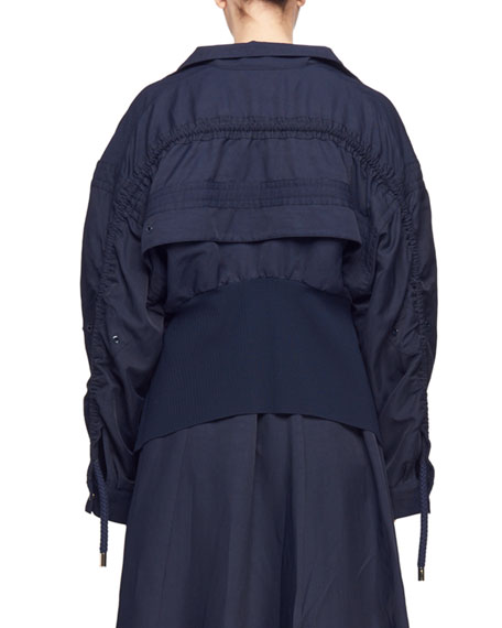 Snap-Front Cargo-Pocket Bomber Jacket with Knit Back