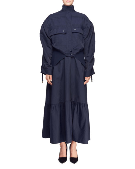 Stella McCartney Snap-Front Cargo-Pocket Bomber Jacket with Knit