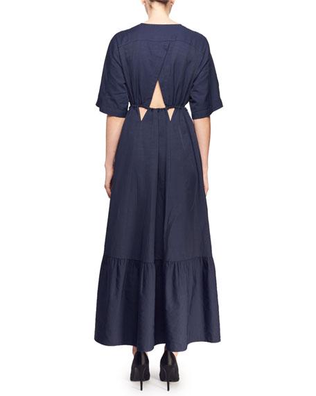 Gabrielle Short-Sleeve Plunging Cutout-Waist Dress