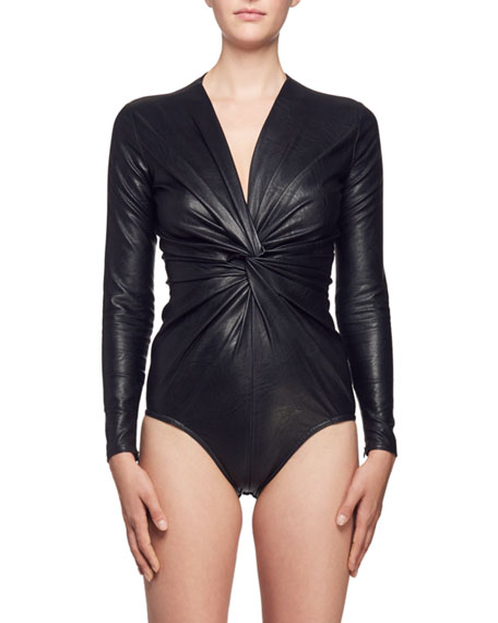 V-Neck Twisted-Front Long-Sleeve Faux-Leather Bodysuit