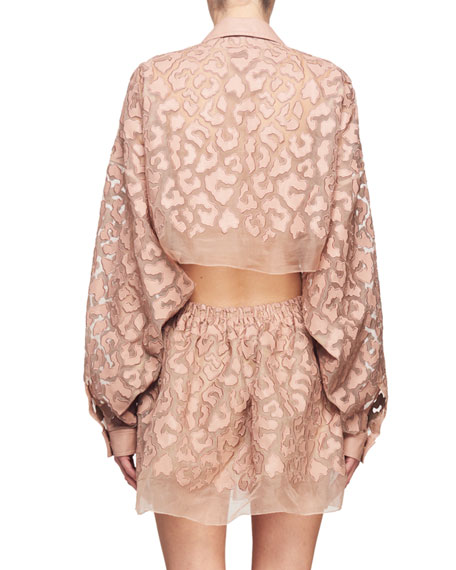 Drawstring-Waist Long-Sleeve Burnout Mini Dress