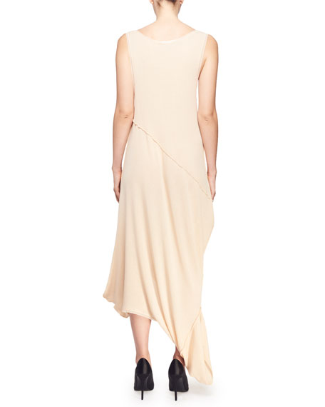 Rib-Knit Reversible Long Draped Sheath Dress