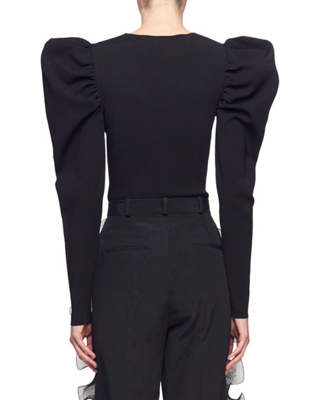 Asymmetric-Neck Puff-Shoulder Long-Sleeve Top