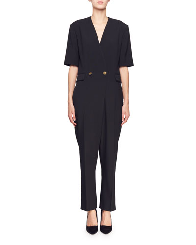 Cecilia V-Neck Short-Sleeve Straight-Leg Crepe Jumpsuit
