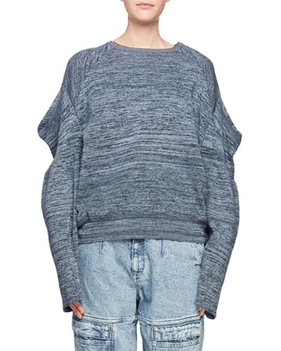 Puffy-Shoulder Long-Sleeve Marled Yarn Sweater