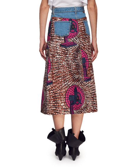 Avery Dutch Fan-Print Asymmetric Midi Skirt