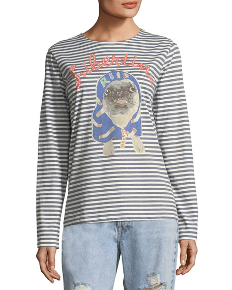 Striped Pug Printed Long-Sleeve T-Shirt