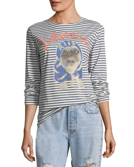 Libertine Striped Pug Printed Long-Sleeve T-Shirt