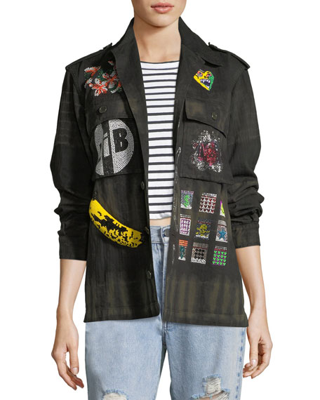 LIBERTINE Crystal Collage Beaded Army Jacket in Multi