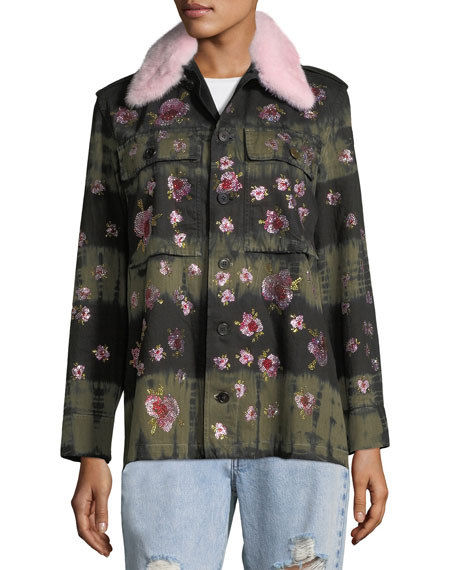 Crystal-Flower Fur-Collar Button-Front Army Jacket
