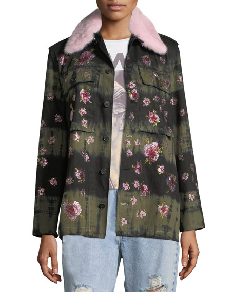 LIBERTINE Crystal-Flower Fur-Collar Button-Front Army Jacket in Multi