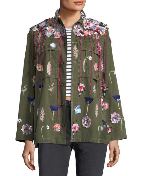 Embellished Button-Front Army Jacket