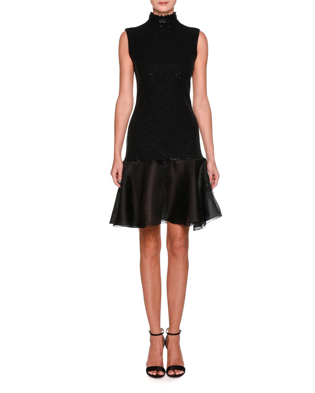 Sleeveless Mock Neck Sequin Tail Dress With Flounce Hem
