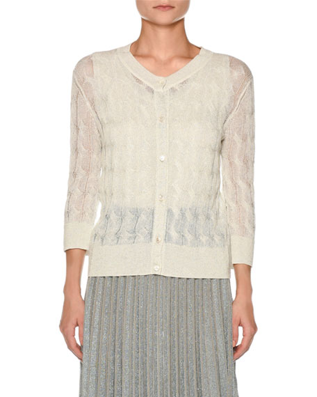 Sheer Cable-Knit Cardigan