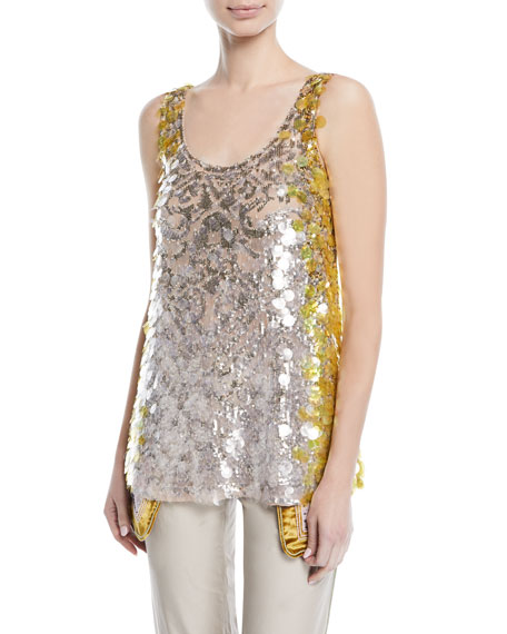 Sleeveless Scoop-Neck Sequined Paillette Top