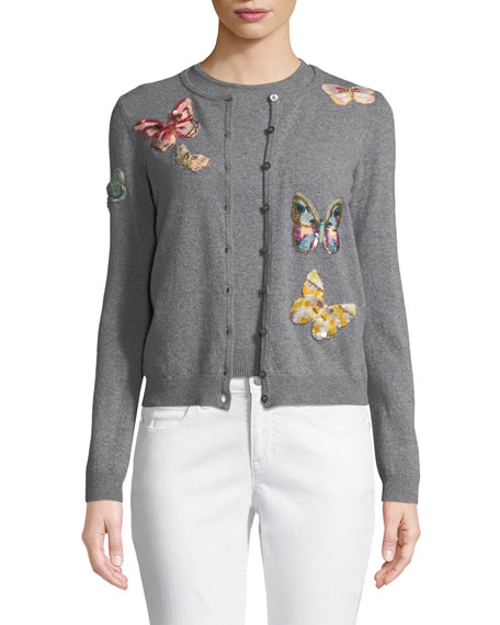 Valentino Butterfly-Embroidered Button-Front Wool-Cashmere
