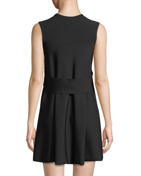 Sleeveless Crewneck A-Line 2-Tone Knit Dress with Lace-Inset