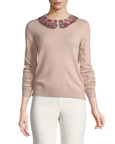 Valentino Long-Sleeve Cashmere Sweater with Floral-Sequined