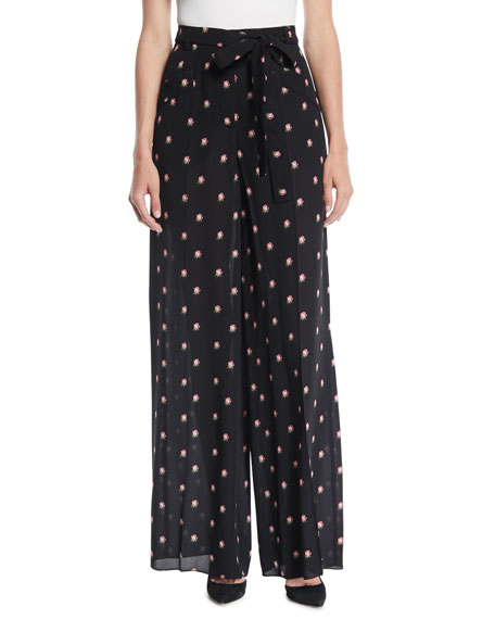 Valentino Rosebud-Print Button-Front Pajama Blouse with Contrast