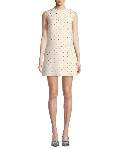 Sleeveless Polka-Dot Crepe Couture Dress