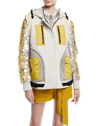 Zip-Front Colorblock Hip-Length Cotton Vest