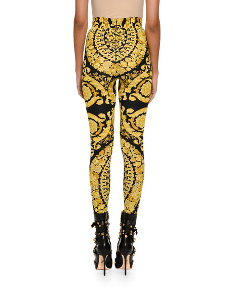 Baroque-Print Stretch Leggings