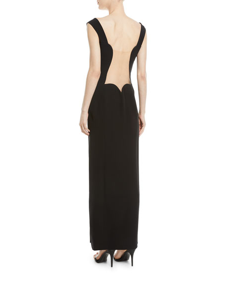 Sleeveless Sweetheart-Neck High-Slit Low-Back Evening Gown
