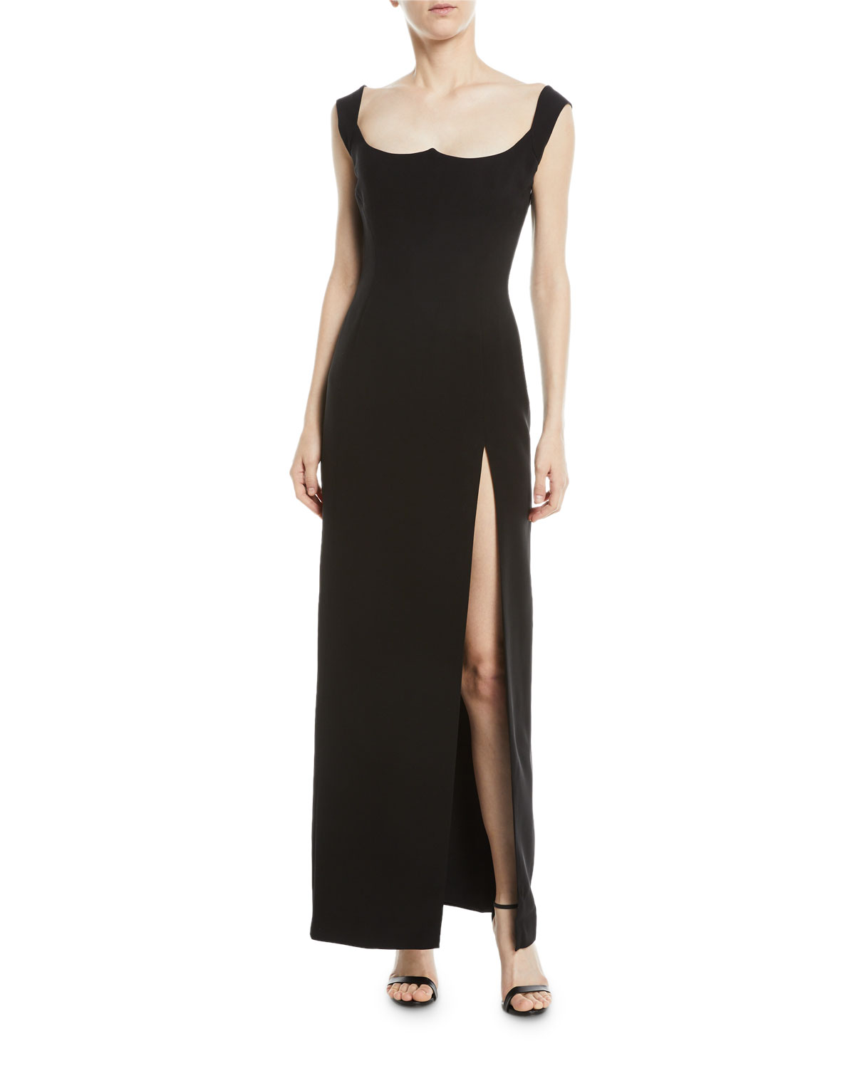 Versace Sleeveless Sweetheart-Neck High-Slit Low-Back Evening Gown ...