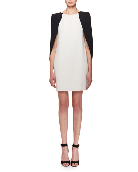 Givenchy Bicolor Cape Shift Dress