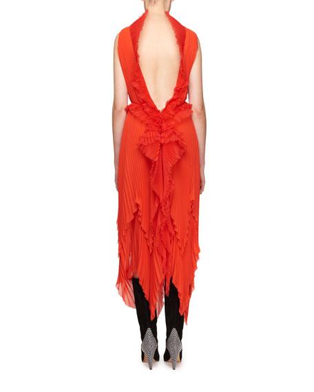 High-Neck Plisse Silk Midi Dress