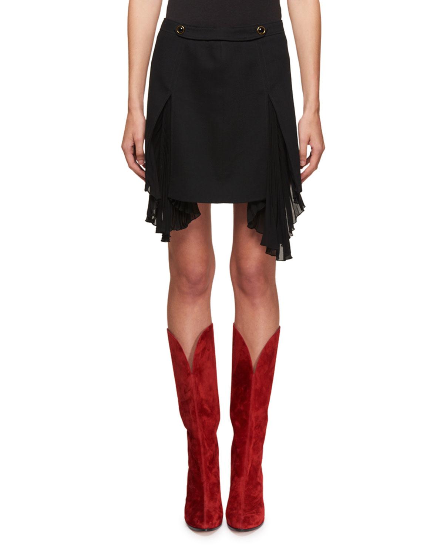 fbd82e88d0 Givenchy Side-Pleat Wool Mini Skirt | Neiman Marcus